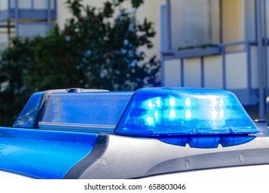 Blue light in a police car