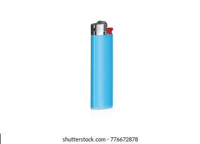 Blue lighter with a red button on a white isolated isometric background