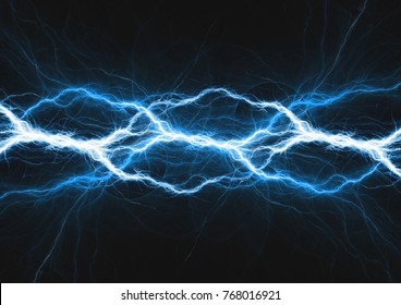 Blue lightning, abstract electrical background