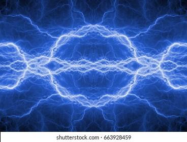 Blue lightning background, plasma energy