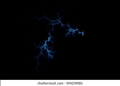 Blue lightning design. Abstract background. Isolated on black background.