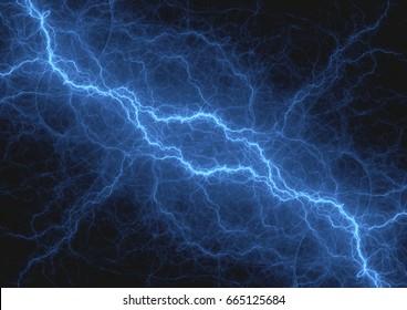 Blue lightning strike, electrical background