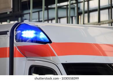blue lights on an ambulance