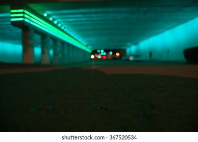 blue lights under bridge in downtown Birmingham Alabama