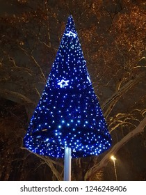 A blue lighttree for chistmas celebration