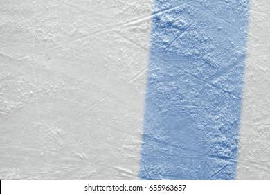 Blue line on ice hockey ground. Fragment, hockey, concept