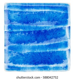 Blue lined handmade glazed ceramic tile isolated on white background