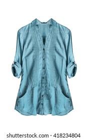Blue linen blouse on white background