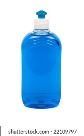 Blue liquid soap in trasparent plastic bottles. Path included