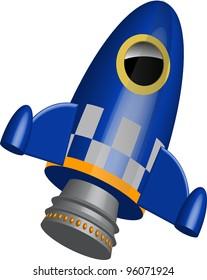 Blue little rocket ship  illustration