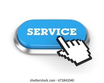 Blue Long Service Button With Metal Border On White Background