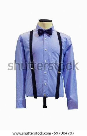 Blue Long Sleeve Shirt Bowtie On Stock Photo Edit Now 697004797