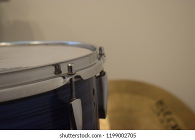Blue low drumset and cymbal musical instruments percussion