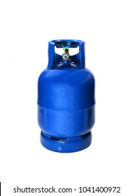 Blue LPG cooking gas cylinder or propane tank, isolated on white background
