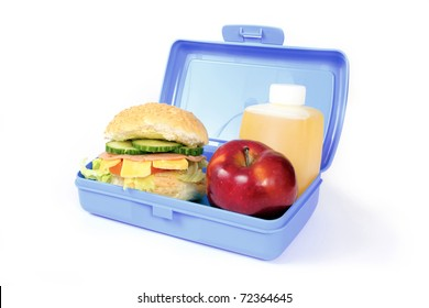 Blue lunch box with a hamburger, red apple and orange drink