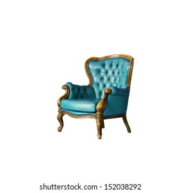 blue Luxurious armchair in white room
