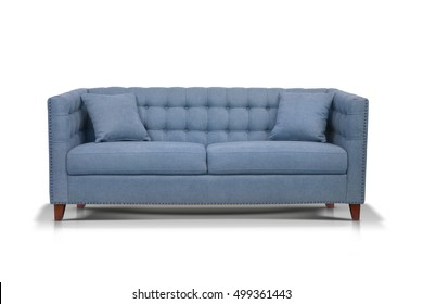 Blue Luxurious sofa isolated on white background, front view.