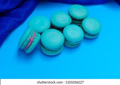 Blue macaroon cookie dessert food