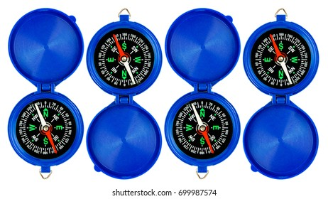 Blue Magnetic Compass Isolated Over White Background. Travel Concept. Copy Space.