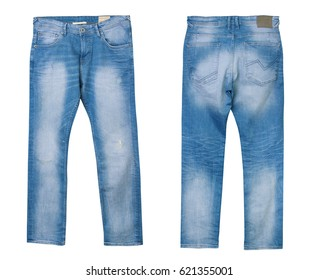 Blue male denim jeans front back side isolated on white. Men's fashion clothing collage.
