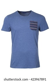 Blue male t-shirt with pocket