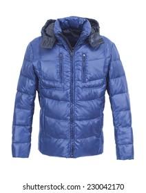 Blue male winter jacket isolated on white background