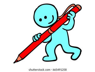 blue man icon red pen