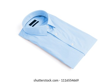 Blue man shirt on white background - New and folded