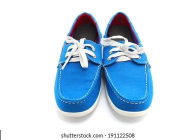 Blue man shoes isolated on a white background