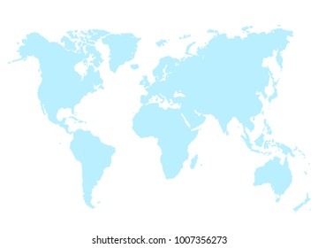Blue map of world  illustration isolated on white. Abstract geographical cartography card with continents  illustration in flat style