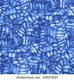 Blue marker. Geometric Hand painted background. Abstract seamless brushstrokes pattern