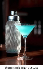 Blue Martini with silver shaker