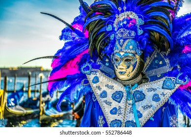 The blue mask at carnival in Venice