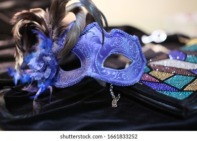 Blue mask with feathers from the carnival in Venice