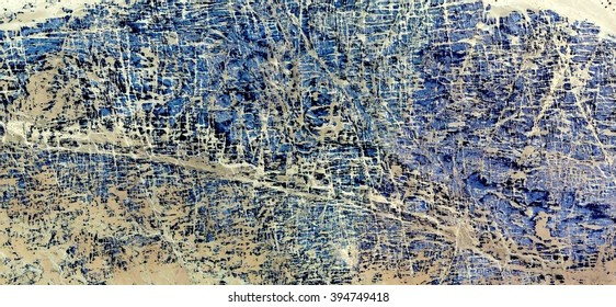 Blue Maze in the African desert, a tribute to Pollock, abstract photography of the deserts of Africa from the air, bird's eye view, abstract expressionism, contemporary art, optical illusions,