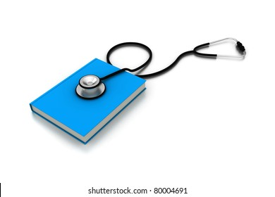 blue medical book with magnifying glass