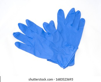 Blue medical gloves isolated on white background