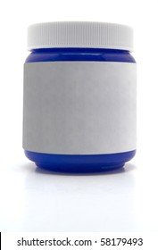 Blue Medicine Container with a blank white label