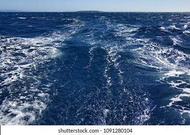 Blue Mediterranean Sea and horizon over water. Formentera, Spain