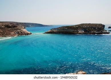 The blue Mediterranean sea of Lampedusa, Italy. Summer 2009.