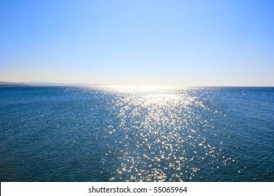 Blue Mediterranean sea at sunrise.