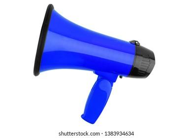 Blue megaphone on white background isolated closeup, hand loudspeaker design, loudhailer or speaking trumpet illustration, announcement or agitation symbol, media or communication icon, alert sign