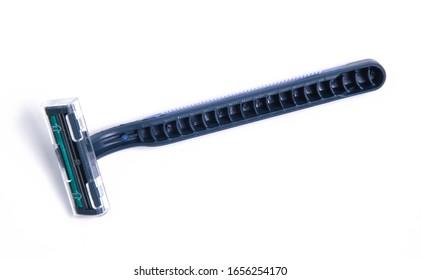 Blue men razor  isolated on white background