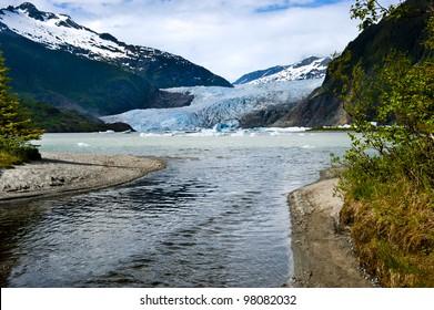 The blue Mendenhall Glacier in Juneau Alaska