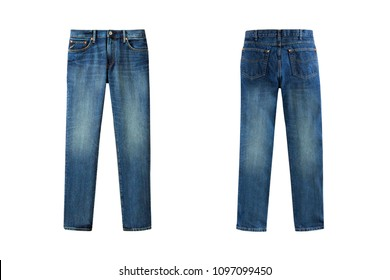 Blue men's jeans in front and back views isolated on white background. Casual style