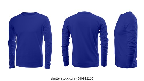 Blue men's T-shirt with long sleeves with rear and side views on a white background