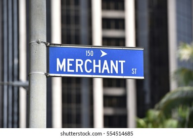 Blue Merchant Street Sign in Downtown Honolulu's Central Business District