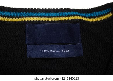 Blue Merino Wool Label on a jumper