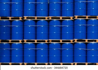 blue metal barrels