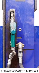Blue metal dispensing fuel with green handle